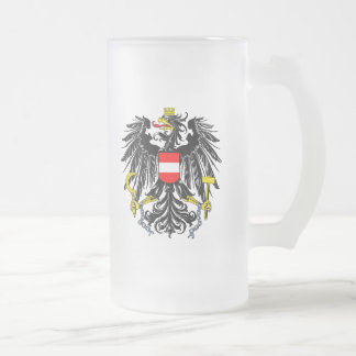 Austrian Coat of Arms Frosted Glass Beer Mug