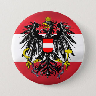 Austrian Flag & Coat of Arms 3 Inch Round Button