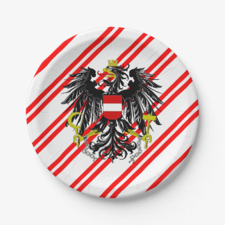 Austrian stripes flag paper plate