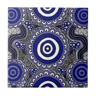 Authentic Aboriginal Art - Gathering Ceramic Tile