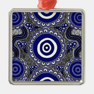 Authentic Aboriginal Art - Gathering Metal Ornament
