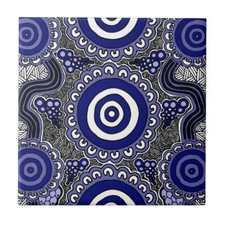 Authentic Aboriginal Art - Gathering Tile