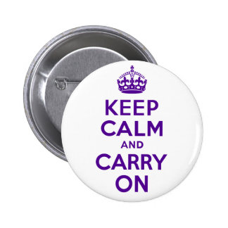 Authentic Keep Calm And Carry On Purple 2 Inch Round Button