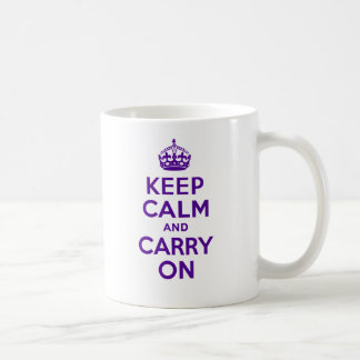 Authentic Keep Calm And Carry On Purple Coffee Mug