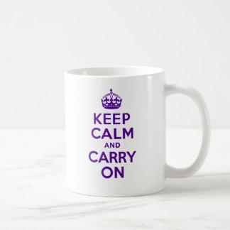 Authentic Keep Calm And Carry On Purple Coffee Mug