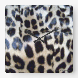 AUTHENTIC  LEOPARD FUR SQUARE WALL CLOCK