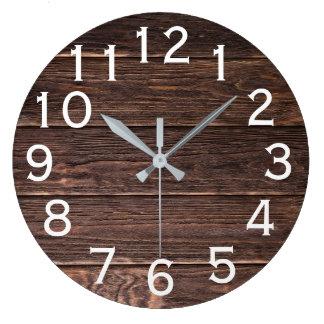 Authentic looking Dark Barn wood horizontal print Large Clock