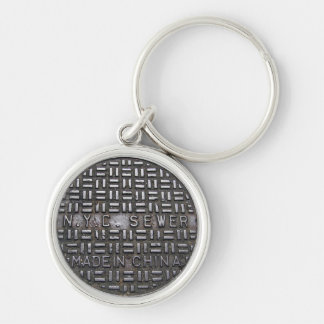 Authentic NYC Sewer Cover Filthy Greasy Grubby Silver-Colored Round Keychain