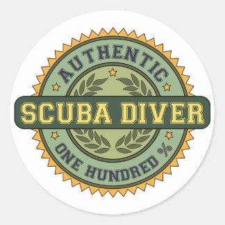 Authentic Scuba Diver Classic Round Sticker