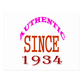 Authentic Since 1934 Birthday Designs Postcard