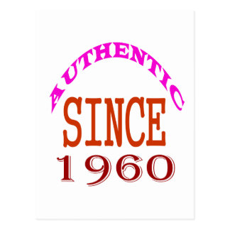 Authentic Since 1960 Birthday Designs Postcard