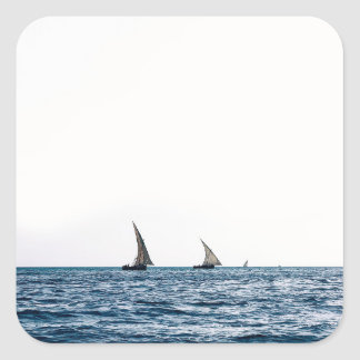 Authentic ZANZIBAR sailboats Square Sticker