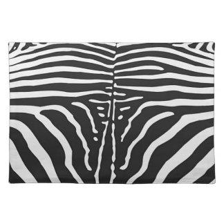 Authentic Zebra Skin Print - black white stripe Placemat