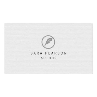 Author Elegant Quill Icon Publishing Business Card