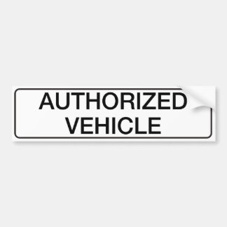 Authorized Vehicle Bumper Sticker