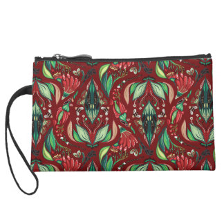 Autimn floral rustic beautiful stylish pattern suede wristlet