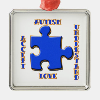 Autism, Acceptance, Love, Understand Silver-Colored Square Ornament