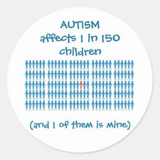 Autism Affects 1 In Every 150 Children Round Sticker