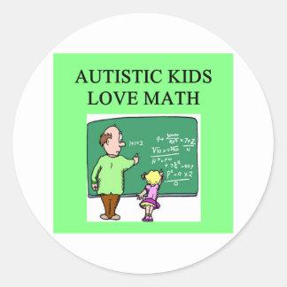 autism autistic kids love math round sticker
