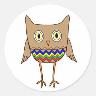 Autism Awareness Autism Colors Owl ZigZag Chevrons Classic Round Sticker