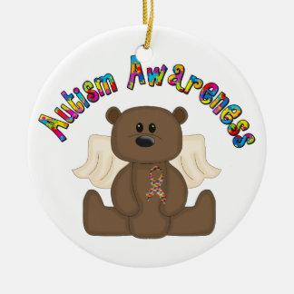 Autism Awareness Bear Ceramic Ornament