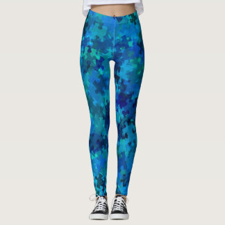 Autism Awareness Blue Puzzle Collage Leggings
