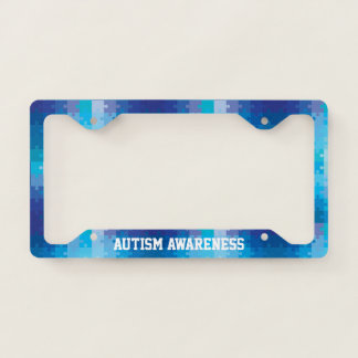 Autism Awareness Blue Puzzle Pattern License Plate Frame