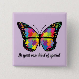 Autism Awareness Butterfly Puzzle Piece 2 Inch Square Button