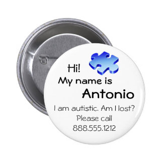 Autism Awareness Button with your name and phone