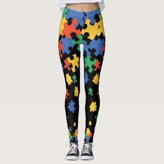 Autism Awareness Colorful Puzzle Piece Leggings