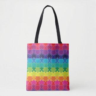 Autism Awareness Colorful Puzzle Pieces Bag