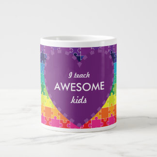 Autism Awareness Colorful Puzzle Pieces Large Coffee Mug