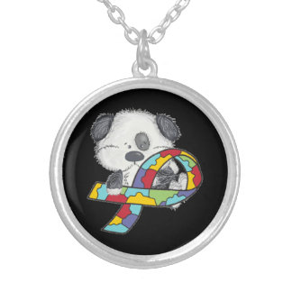 AUtism Awareness Dog Silver Plated Necklace