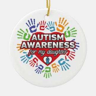 Autism Awareness for my Daughter Round Ceramic Ornament