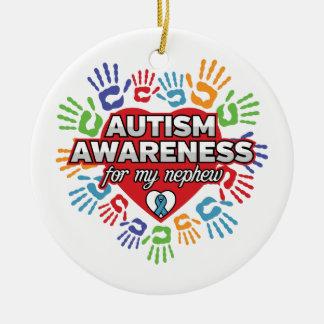 Autism Awareness for my Nephew Round Ceramic Ornament
