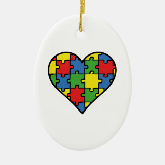 Autism Awareness Heart Ceramic Oval Ornament