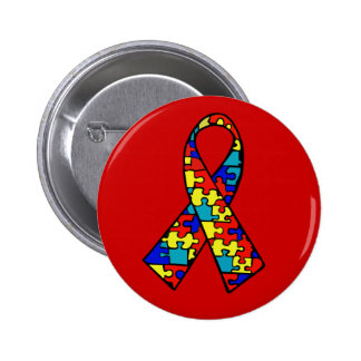 Autism Awareness Jigsaw Puzzle Ribbon Products 2 Inch Round Button