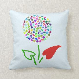 Autism Awareness. Love, Heart, Puzzle Flower Throw Pillow