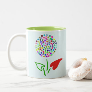 Autism Awareness. Love, Heart, Puzzle Flower Two-Tone Coffee Mug