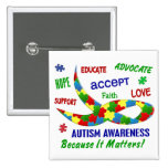 AUTISM AWARENESS MONTH APRIL 2 INCH SQUARE BUTTON