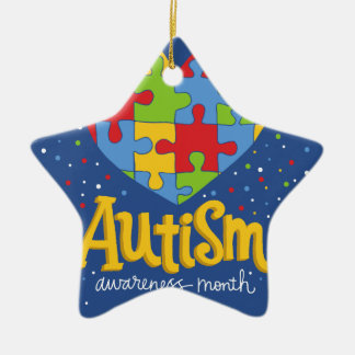 autism awareness month ceramic star ornament
