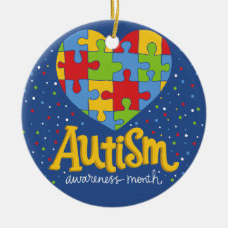 autism awareness month round ceramic ornament