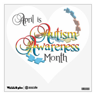 Autism Awareness Month White Heart Wall Decal