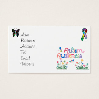 Autism Awareness on White  Business cards