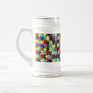 Autism Awareness-Puzzle by Shirley Taylor Beer Stein