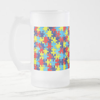 Autism Awareness-Puzzle by Shirley Taylor Frosted Glass Beer Mug