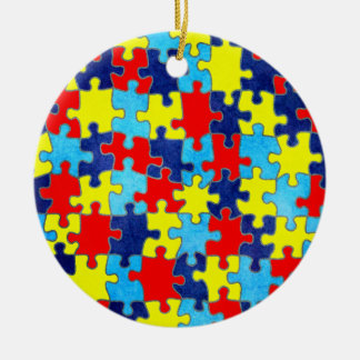 Autism Awareness-Puzzle by Shirley Taylor Round Ceramic Ornament