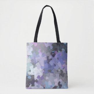 Autism Awareness Puzzle Collage Art- Purple Tote Bag