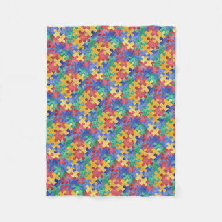 Autism Awareness puzzle fleece blanket