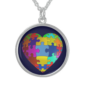Autism Awareness Puzzle Heart Sterling Necklace